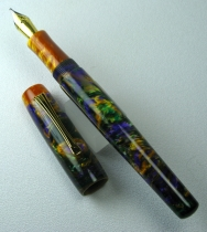 Scribe in Mardi Gras Lava Explosion #9 with custom grip & finial