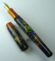 Scribe in Mardi Gras Lava Explosion #9 with custom grip & finial