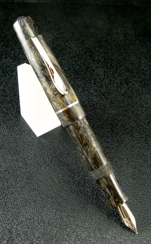 Master Scrivener in Midnight Forest alumilite with Sterling Silver Cap Band