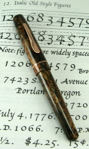 Master Scrivener in Elven Wood alumilite with Copper clip and bnads