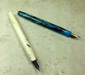 Epic Dip Nib Holders in Ghost Koi and Blue Nebula Alumilite