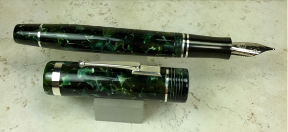 Churchillized Epic in Classic Green acrylic & Black Japanese Ebonite