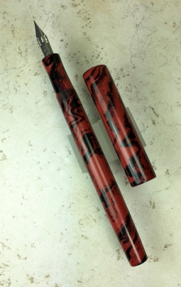 Epic Dip Pen in Black & Red Mottled Ebonite