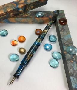Literati Academe Dip Pen in Mineral Sea Alumilite