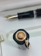 Visconti Chatterley 10th Anniv. LE in Teal Green Candy Stripe, Rose Gold Trim, Fine 23k Palladium Dreamtouch Nib