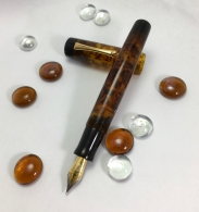 Exemplar in Illuminated Amber Tortoise & Black Ebonite - Large