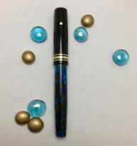 Custom 139 Style in Blue-Bronze Lava & Black Ebonite