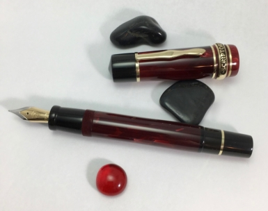 Custom Hemingway Homage in Red Marbled Bakelite & Black Ebonite - Large