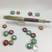Custom Master Scrivener in Pistachio Cream, Red Stripe, O'Nebula Artemis - Small