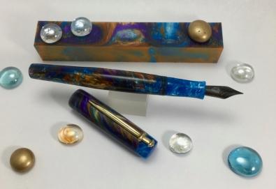 Scribe in Fire Nebula Lava Explosion & Blue Sky Mono Swirl - Small