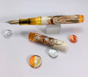 Scroll in Calico Koi Alumilite & Transparent Orange with Ink Window