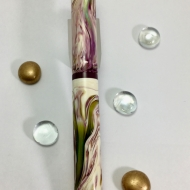 Scroll in Water Lily Koi alumilite & Blackberry Ebonite