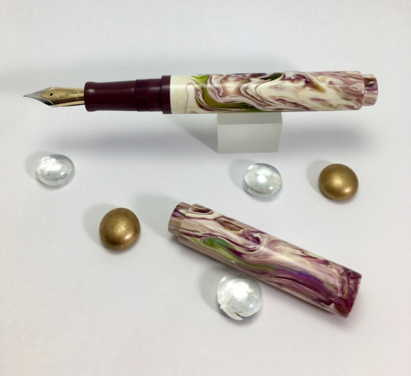 Scroll in Water Lily Koi Alumilite & Blackberry Ebonite - Small