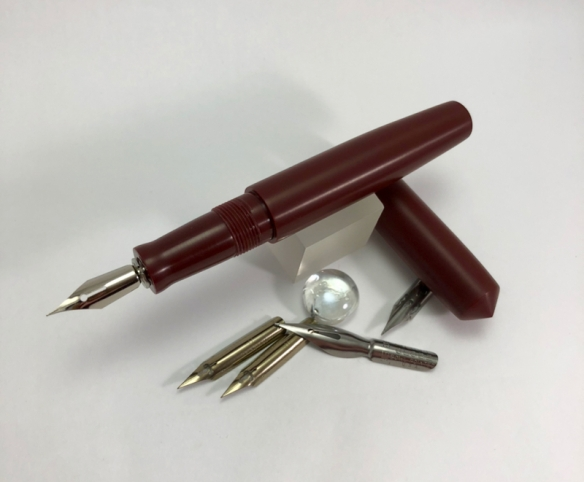 Unpolished Idyll Dip Pen in Urushi Red Acrylic - barrel holds spare nibs