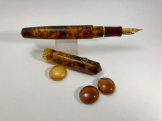 Idyll in Illuminated Amber Tortoise & Urushi Red - Small