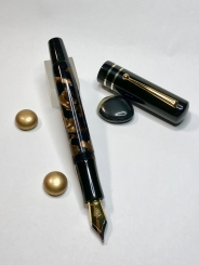 Custom Design in Vintage Brown Crush Parker Celluloid & Black Ebonite - Large