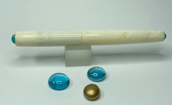 Illuminaire in Ivory Lucite with American Mined™ Gold Canyon Turquoise™ Cabochons - Small