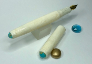 Illuminaire in Ivory Lucite with American Mined™ Gold Canyon Turquoise™ Cabochons