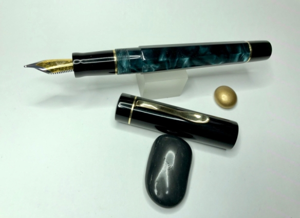 Tapered, Faceted Barrel Pen in Black Forest Acrylic & Black Japanese Ebonite