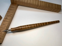 Literati Academe Dip Pen in Roasted Curly Maple - Oversized